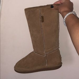 Tan suede boots with accent lining